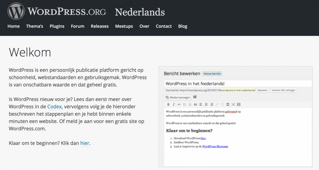 Screenshot WordPress.org - Nederlands