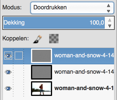 GIMP in Doordruk-modus