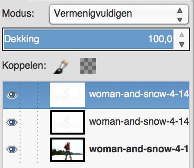 GIMP in Vermenigvuldig-modus