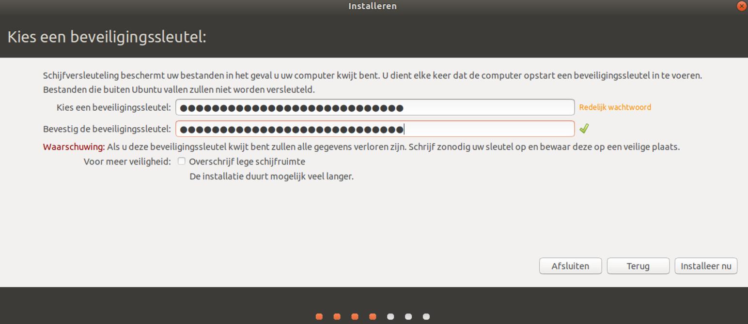 Beveiligingssleutel kiezen in Ubuntu