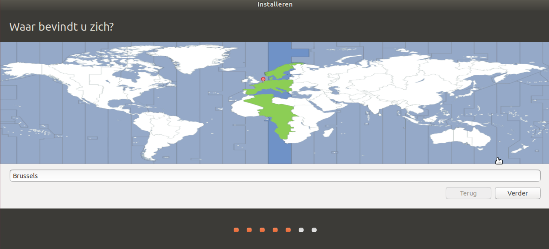 Locatiescherm Ubuntu